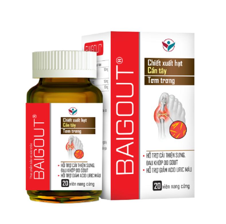 Viên uống Baigout giúp điều trị bệnh gout và làm giảm acid uric hiệu quả