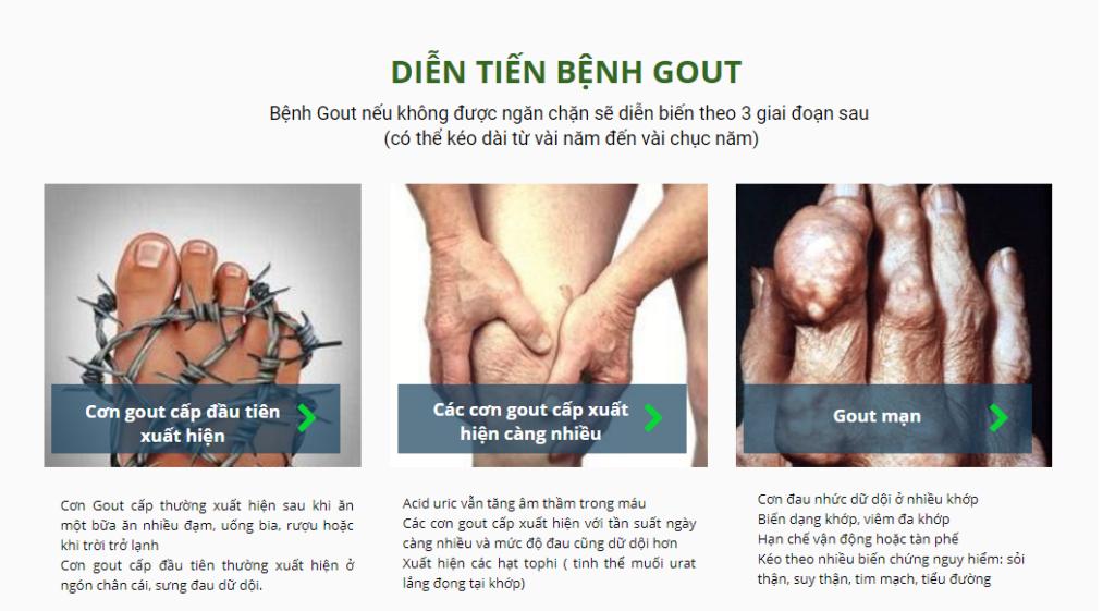 Diễn tiến của bệnh gout