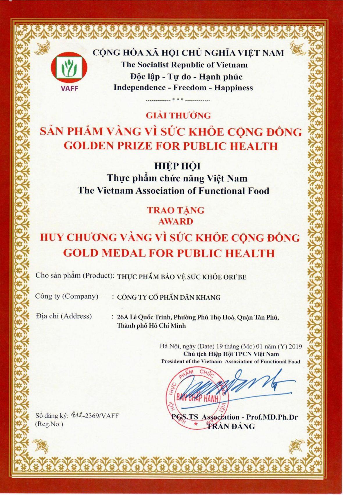 oribe huy chương vàng vì sức khoẻ cộng đồng