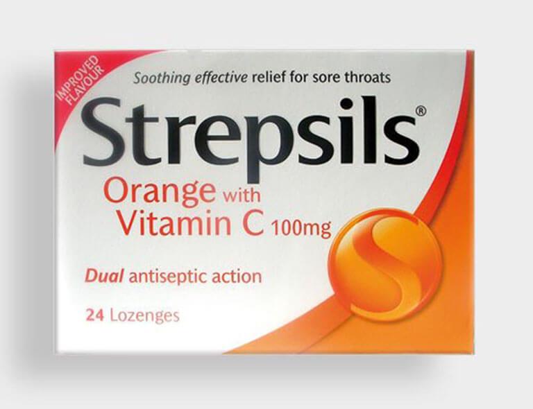 Kẹo ngậm trị đau họng Strepsils