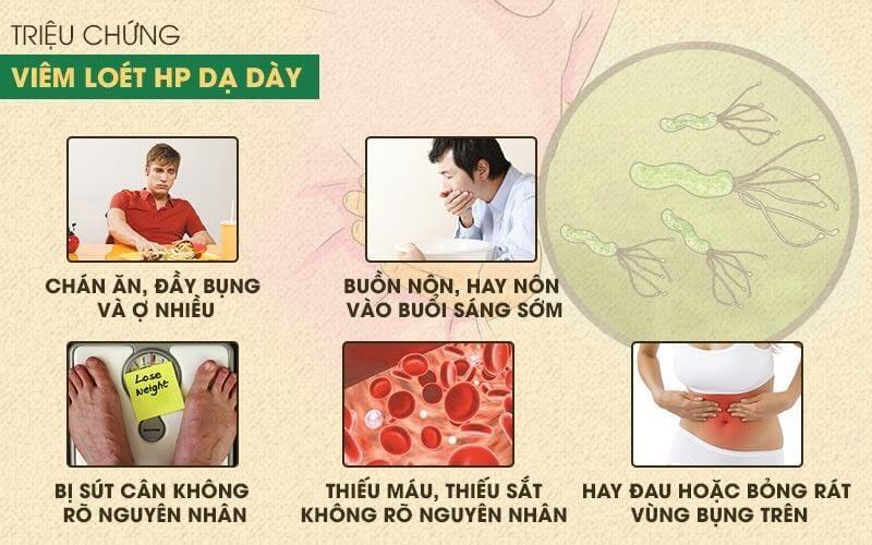 Các triệu chứng của bệnh viêm loét dạ dày tá tràng