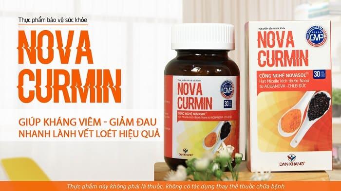 Sản phẩm Novacurmin giúp kháng viêm giảm đau nhan lành vết loét hiệu quả