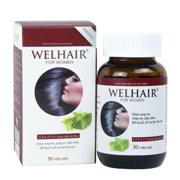 Welhair for women chứa các acid amin nuôi dưỡng tóc, giúp tóc chắc khỏa và giảm rụng tóc
